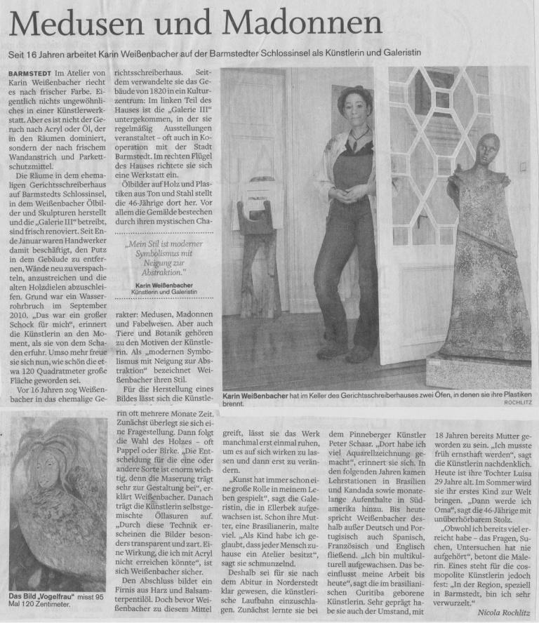 01.03.2012 Medusen und Madonnen Nicola Rochlitz, Pinneberger Tageblatt Medusen und Madonnen