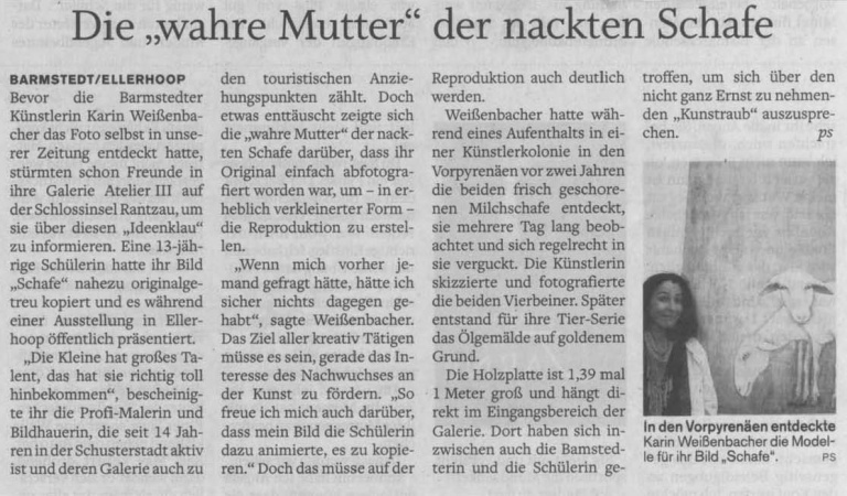 01.12.2009 Die 'wahre Mutter' der nackten Schafe Peter Schweinberger, Barmstedter Zeitung Die 'wahre Mutter' der nackten Schafe