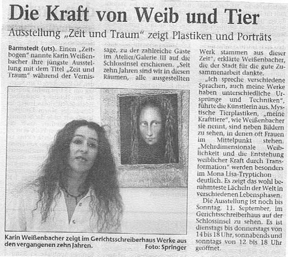 02.08.2005 Die Kraft von Weib und Tier Ute Springer, Barmstedter Zeitung Die Kraft von Weib und Tier