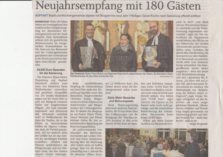 03.01.2017 Neujahrsemfang mit 180 Gästen Helga Pergande, Barmstedter Zeitung Neujahrsemfang mit 180 Gästen