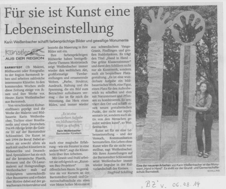 06.08.2014 Für sie ist Kunst eine Lebenseinstellung F. Schilling, Barmst. Ztg. : Elmsh. Nachr. Für sie ist Kunst eine Lebenseinstellung