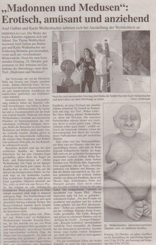 06.10.2010 'Madonnen und Medusen'- Erotisch, amüsant und anziehend Monika Eichenauer, Büdinger Anzeiger 'Madonnen und Medusen'- Erotisch, amüsant und anziehend