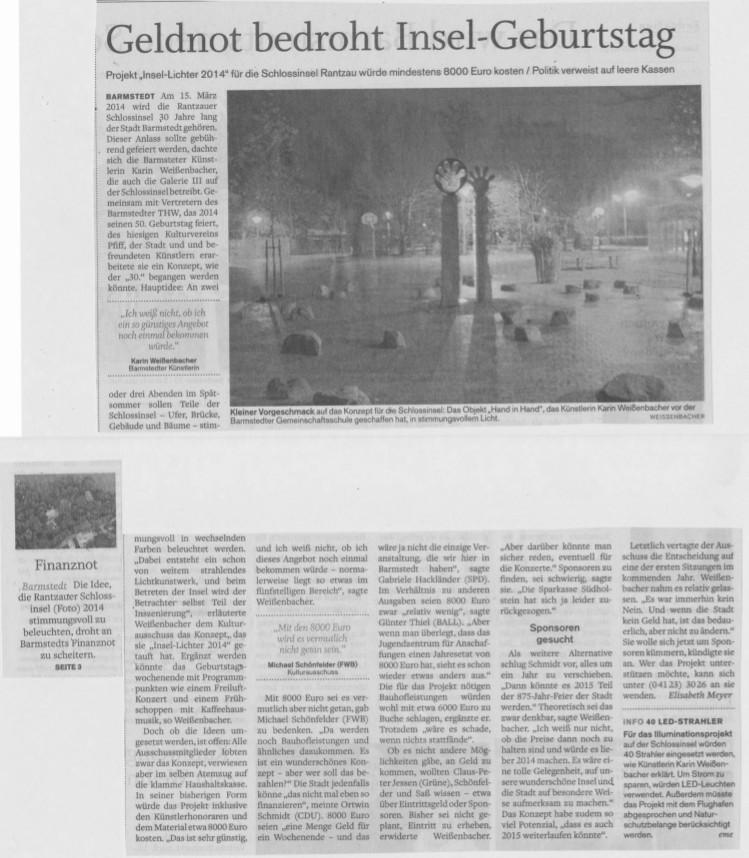 06.12.2013 Geldnot bedroht Insel-Geburtstag Elisabeth Meyer, Barmstedter Zeitung Geldnot bedroht Insel-Geburtstag