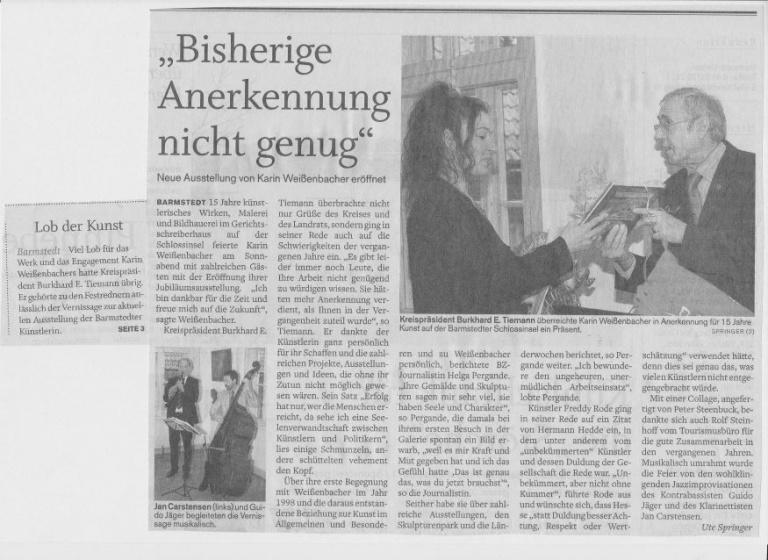 08.02.2011 Bisherige Anerkennung nicht genug Ute Springer, Barmstedter Zeitung Bisherige Anerkennung nicht genug