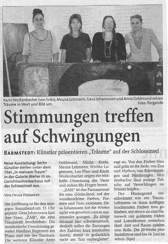 08.05.2009 Stimmungen treffen auf Schwingungen Helga Pergande, Barmstedter Zeitung Stimmungen treffen auf Schwingungen