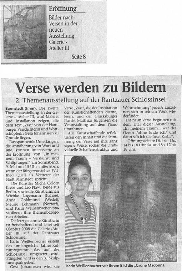 08.05.2009 Verse werden zu Bildern F. Mackeprang-Meyer, Elmshorner Nachrichten Verse werden zu Bildern