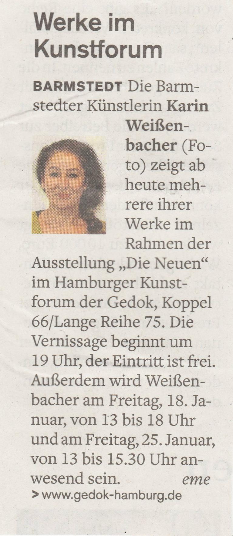 09.01.2019 Ausstellung im Kunstforum Elisabeth Meyer, Barmstedter Zeitung, Pinneberger Tageblatt Ausstellung im Kunstforum