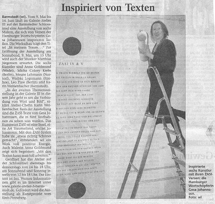 09.04.2009 Inspiriert von Texten Carsten Wittmaack, Elmshorner Nachrichten Inspiriert von Texten