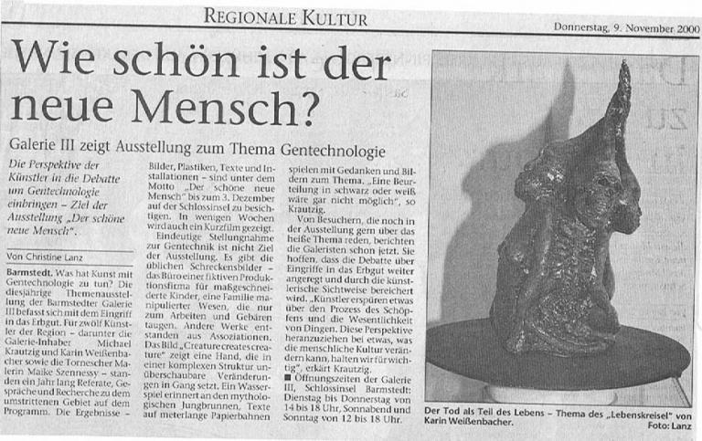 09.11.2000 Wie schön ist der neue Mensch? Christine Lanz, Pinneberger Tageblatt Wie schön ist der neue Mensch?