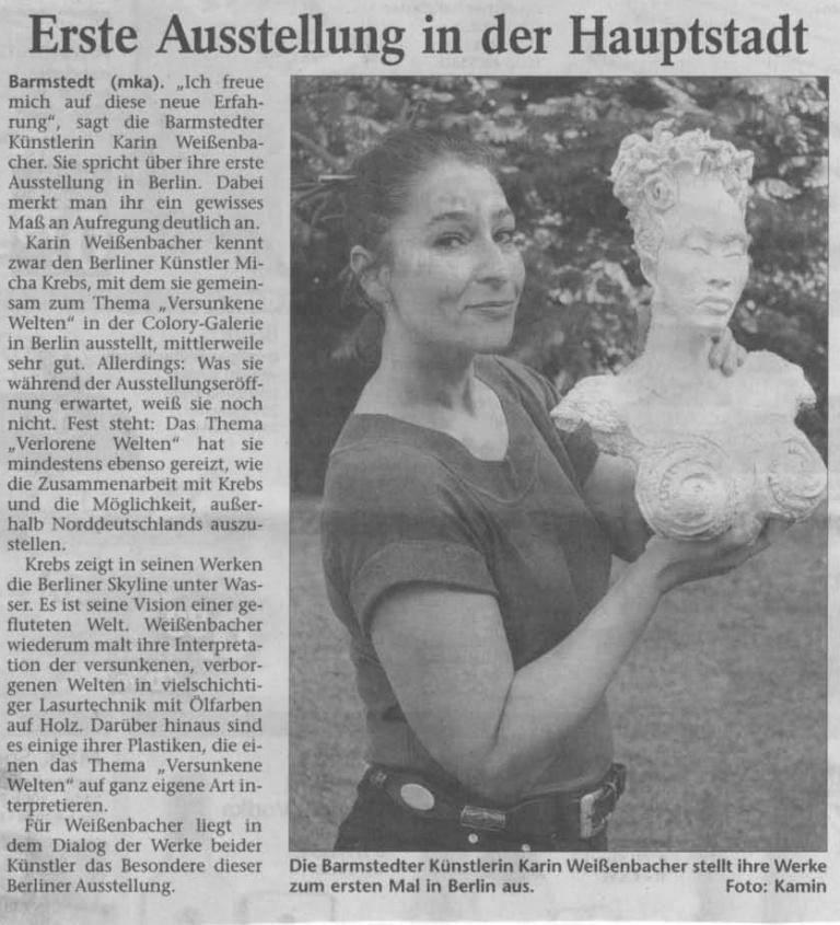 10.09.2009 Erste Ausstellung in der Hauptstadt Maike Kamin, Elmshorner Nachrichten Erste Ausstellung in der Hauptstadt