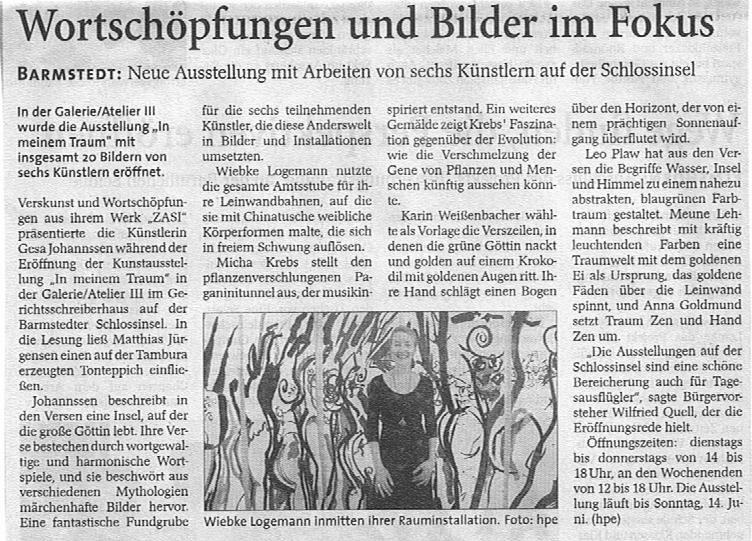11.05.2009 Wortschöpfungen und Bilder im Fokus Helga Pergande, Barmstedter Zeitung Wortschöpfungen und Bilder im Fokus