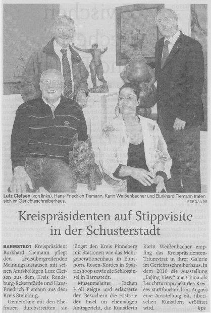 11.06.2011 Kreispräsidenten auf Stippvisite in der Schusterstadt Helga Pergande, Barmstedter Zeitung Kreispräsidenten auf Stippvisite in der Schusterstadt