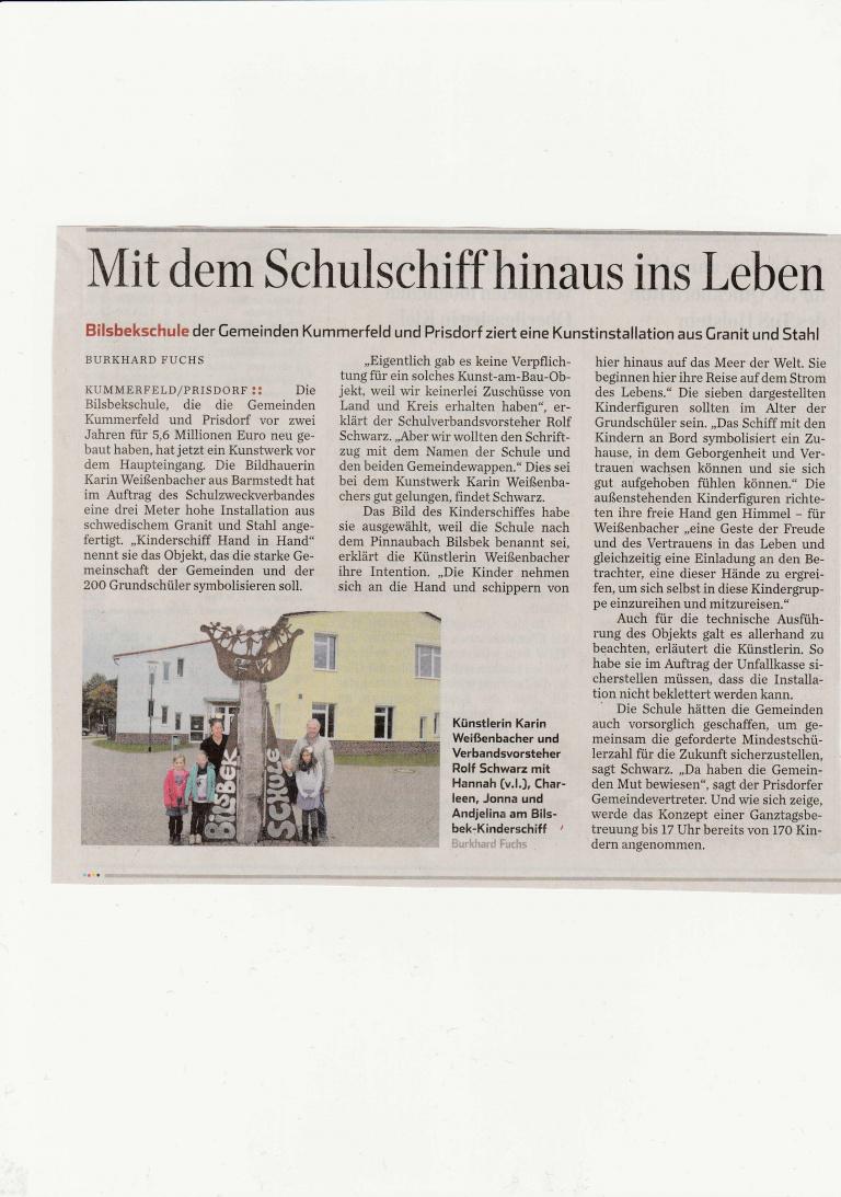 11.11.2015 Ein Schiff für beide Gemeinden Tanja Plock, Pinneberger Zeitung Ein Schiff für beide Gemeinden