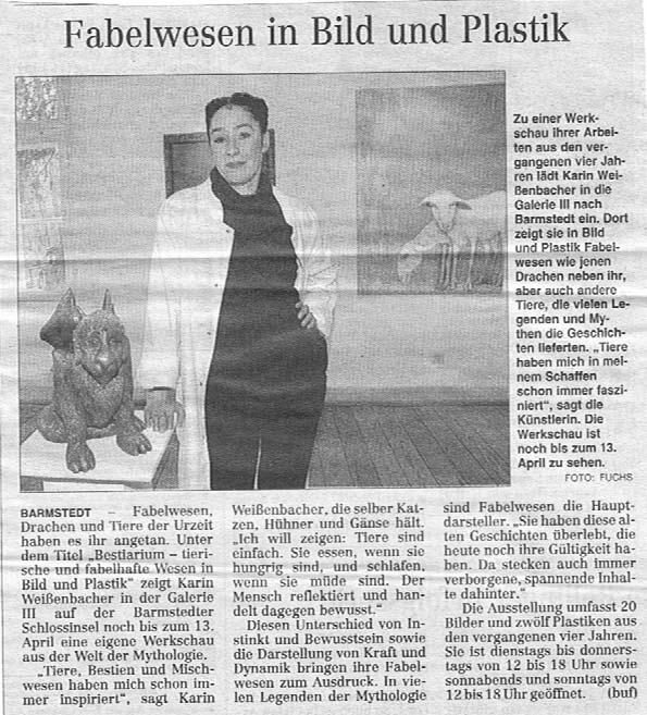 12.03.2008 Fabelwesen in Bild und Plastik Burkhard Fuchs, Hamburger Abendblatt Fabelwesen in Bild und Plastik