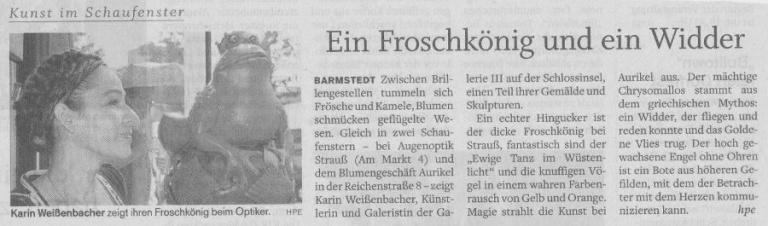 12.08.2011 Ein Froschkönig und ein Widder Helga Pergande, Barmstedter Zeitung Ein Froschkönig und ein Widder