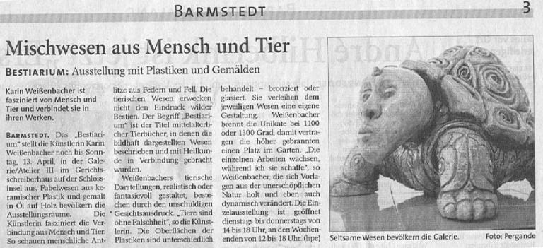 14.03.2008 Mischwesen aus Mensch und Tier Helga Pergande, Barmstedter Zeitung Mischwesen aus Mensch und Tier
