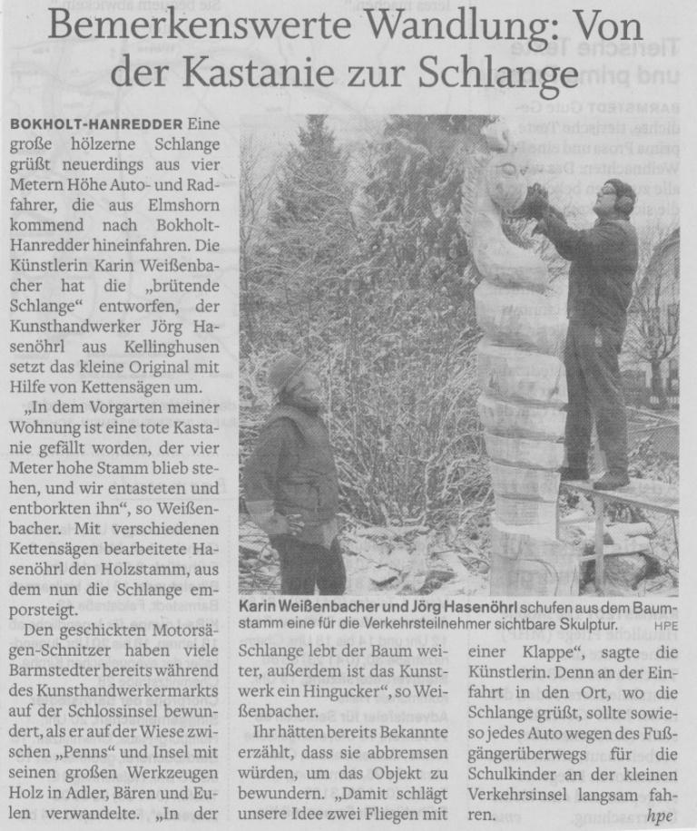 14.12.2010 Bemerkenswerte Wandlung- Von der Kastanie zur Schlange Helga Pergande, Pinneberger Tageblatt Bemerkenswerte Wandlung- Von der Kastanie zur Schlange
