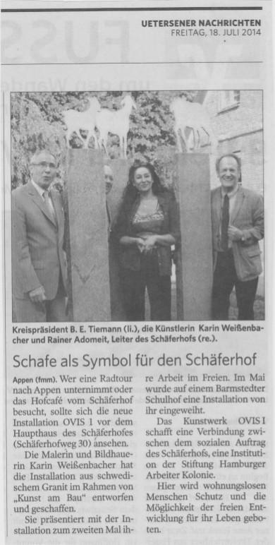 18.07.2014 Schafe als Symbol für den Schäferhof F. Mackeprang-Meyer, Uetersener Nachrichten Schafe als Symbol für den Schäferhof