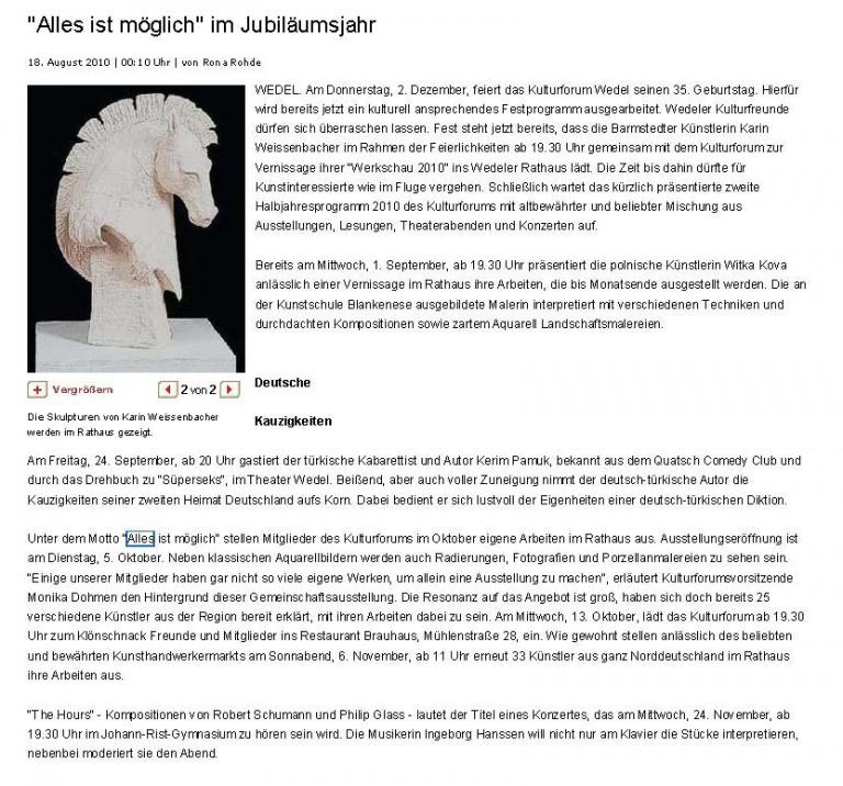 18.08.2010 'Alles ist möglich' im Jubiläumsjahr Rona Rohde, Quickborner Tageblatt 'Alles ist möglich' im Jubiläumsjahr
