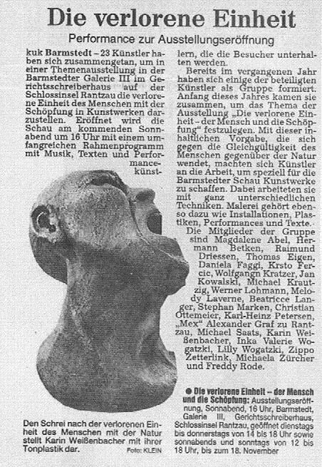 18.10.1999 Die verlorene Einheit Kuno Klein, Hamburger Abendblatt Die verlorene Einheit