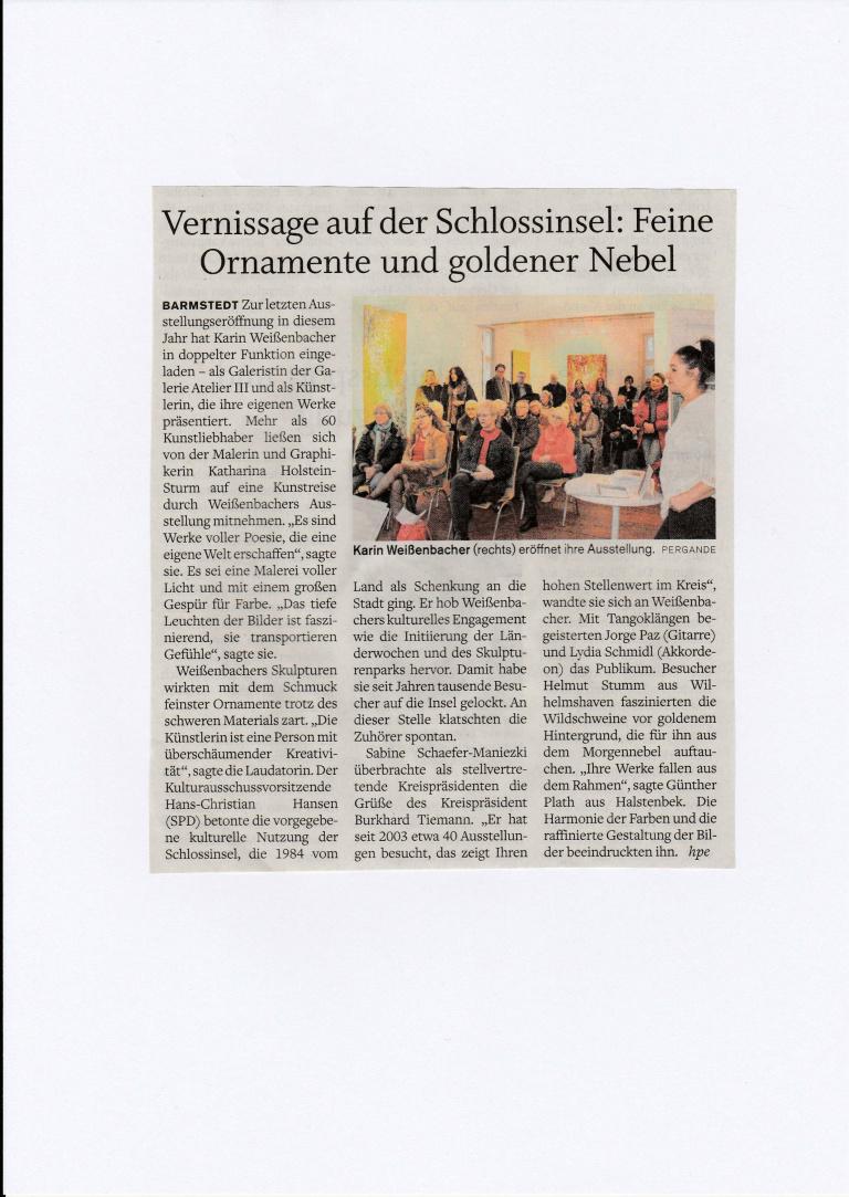 19.12.2016 Vernissage auf der Schlossinsel Helga Pergande, Barmstedter Zeitung Vernissage auf der Schlossinsel