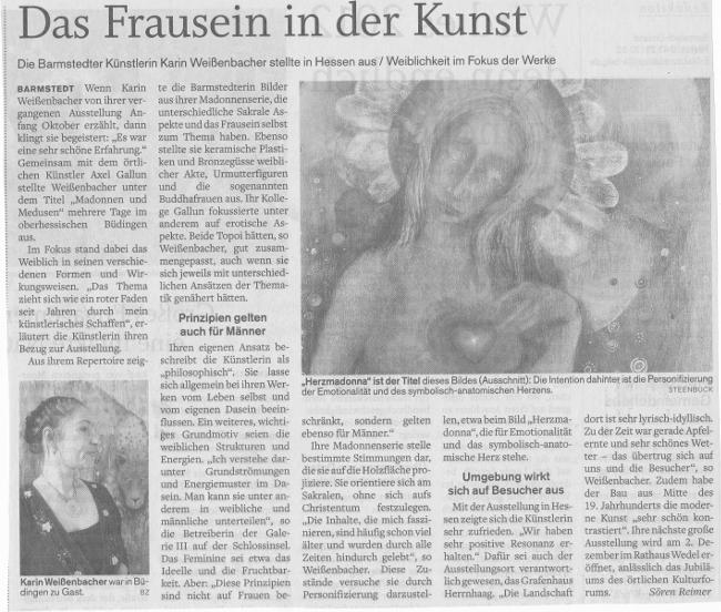 20.10.2010 Das Frausein in der Kunst Sören Reimer, Barmstedter Zeitung Das Frausein in der Kunst