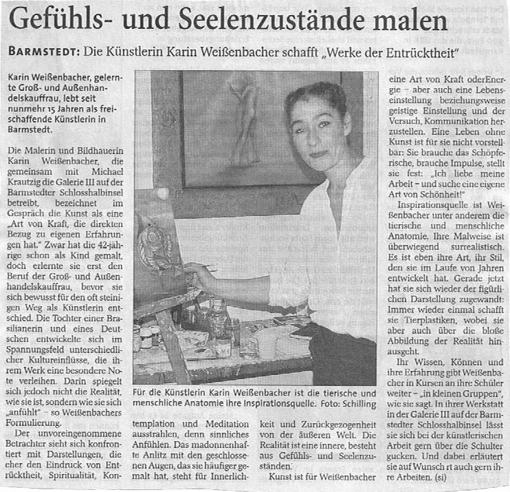22.02.2008 Gefühls- und Seelenzustände malen Siegfried Schilling, Barmstedter Zeitung Gefühls- und Seelenzustände malen
