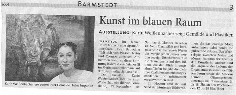 23.08.2006 Kunst im blauen Raum Helga Pergande, Barmstedter Zeitung Kunst im blauen Raum