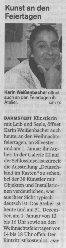 24.12.2009 Kunst an den Feiertagen Elisabeth Meyer, Barmstedter Zeitung Kunst an den Feiertagen