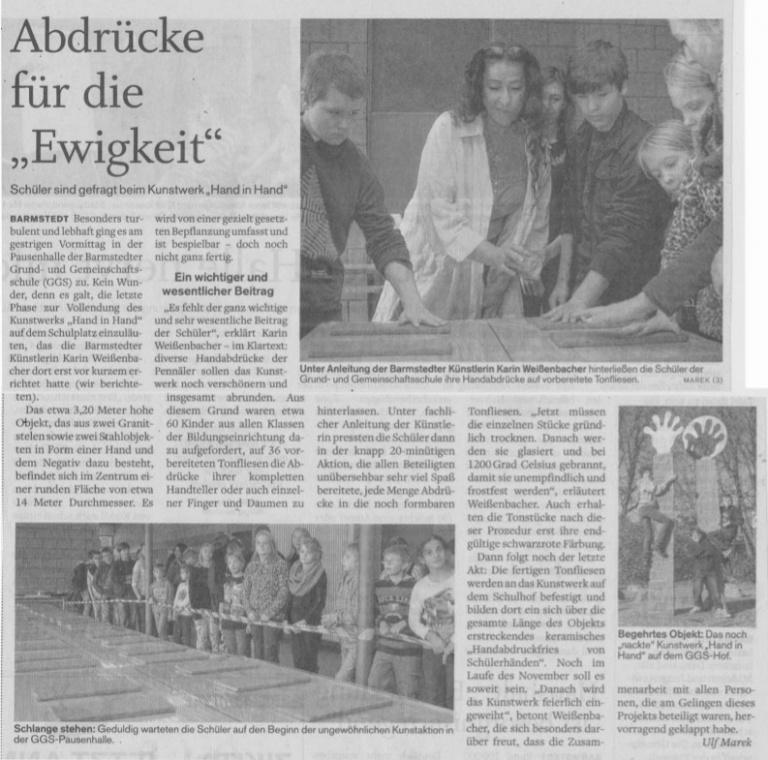 25.10.2013 Abdrücke für die Ewigkeit Ulf Marek, Pinneberger Tageblatt Abdrücke für die Ewigkeit