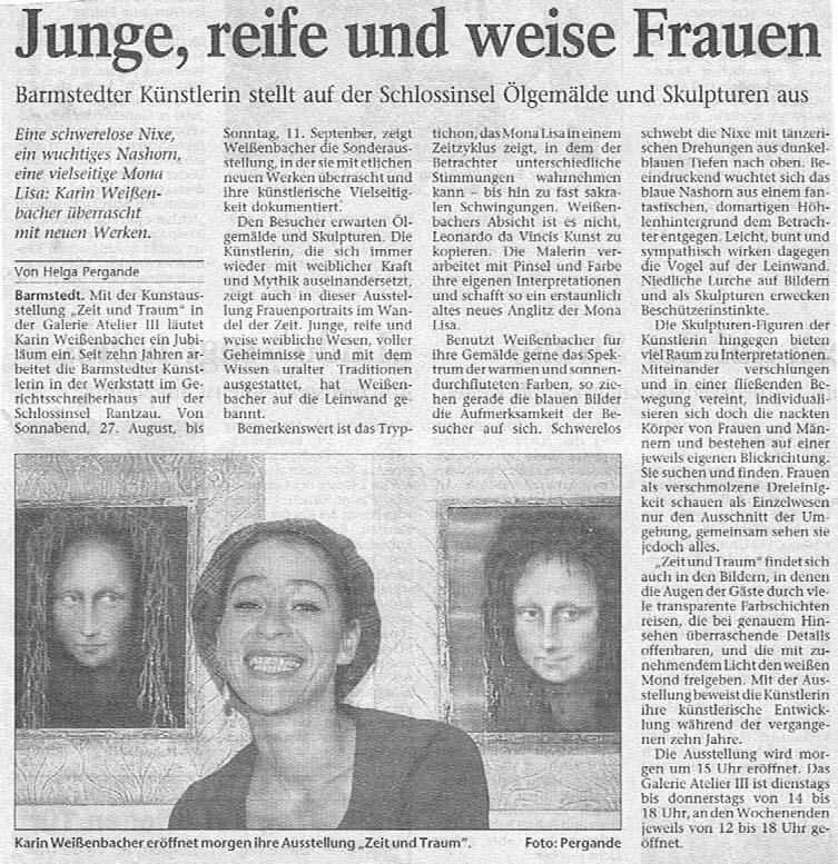 26.08.2005 Junge, reife und weise Frauen Helga Pergande, Barmstedter Zeitung Junge, reife und weise Frauen