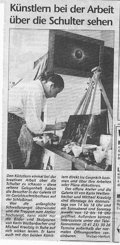 28.05.1997 Künstlern bei der Arbeit über die Schulter sehen Christine Weber-Herford, Barmstedter Zeitung Künstlern bei der Arbeit über die Schulter sehen