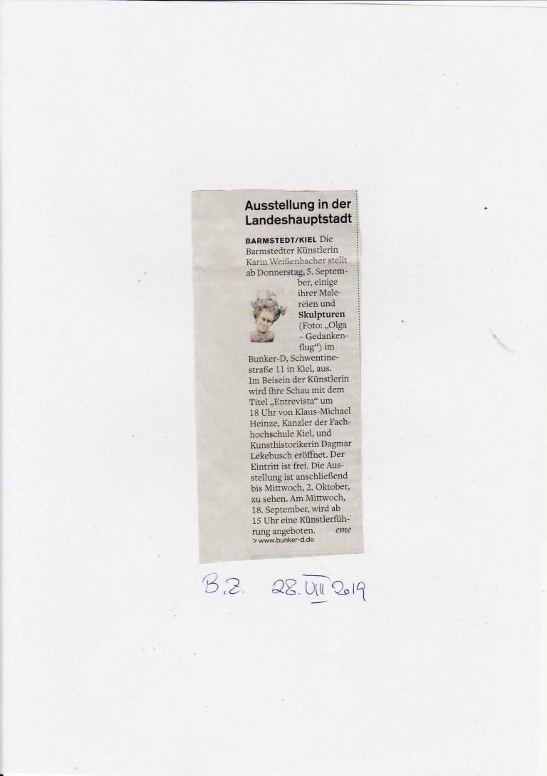 28.08.2019 Ausstellung in der Landeshauptstadt Elisabeth Meier, Barmstedter Zeitung Ausstellung in der Landeshauptstadt