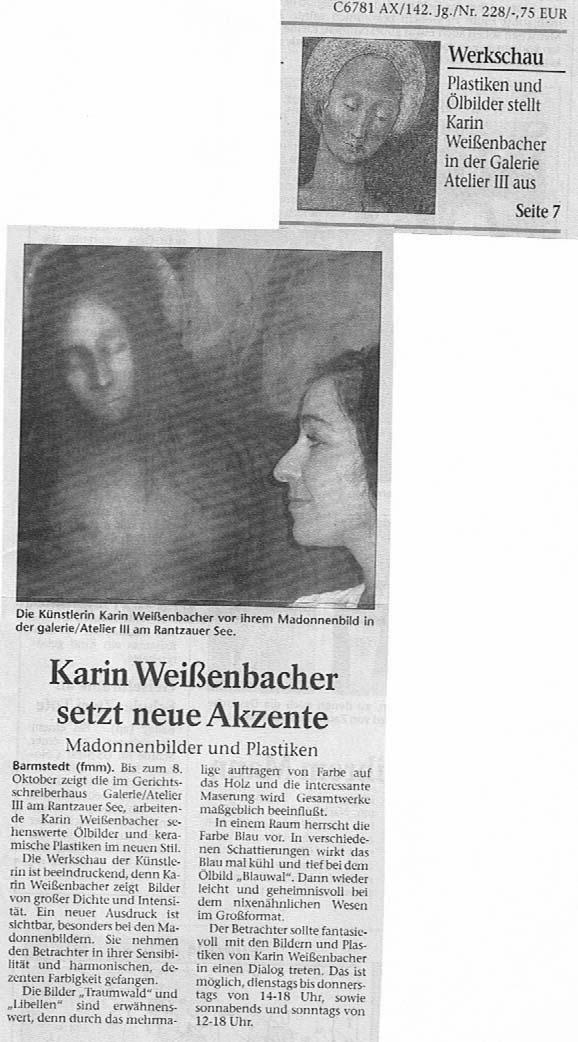 29.09.2006 Karin Weißenbacher setzt neue Akzente F. Mackeprang-Meyer, Uetersener Nachrichten Karin Weißenbacher setzt neue Akzente