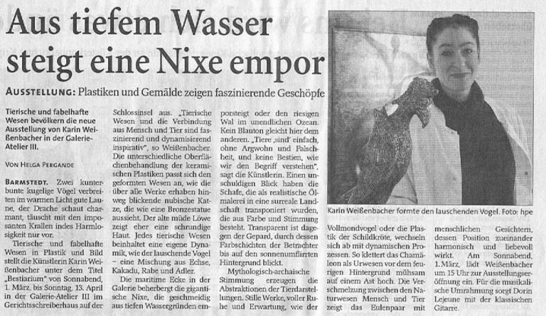 30.02.2008 Aus tiefem Wasser steigt eine Nixe empor Helga Pergande, Barmstedter Zeitung Aus tiefem Wasser steigt eine Nixe empor