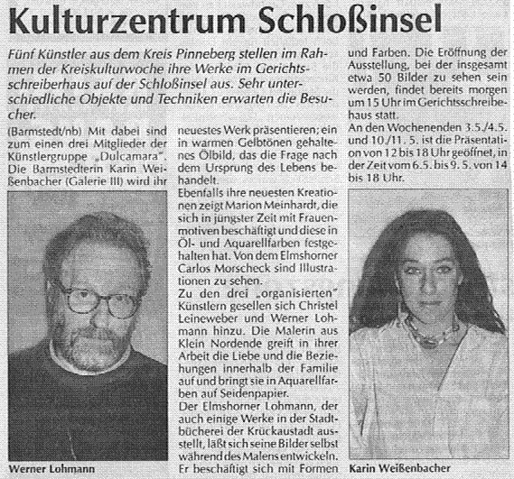 30.04.1997 Kulturzentrum Schlossinsel Ute Springer, Barmstedter Zeitung Kulturzentrum Schlossinsel