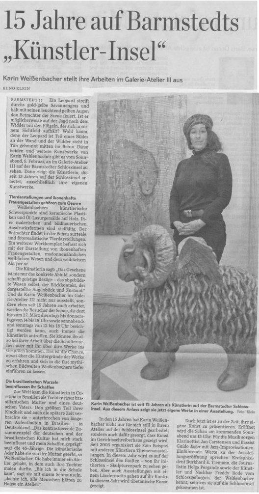 31.01.2011 15 Jahre auf Barmstedts 'Künstler-Insel' Kuno Klein, Pinneberger Zeitung 15 Jahre auf Barmstedts 'Künstler-Insel'