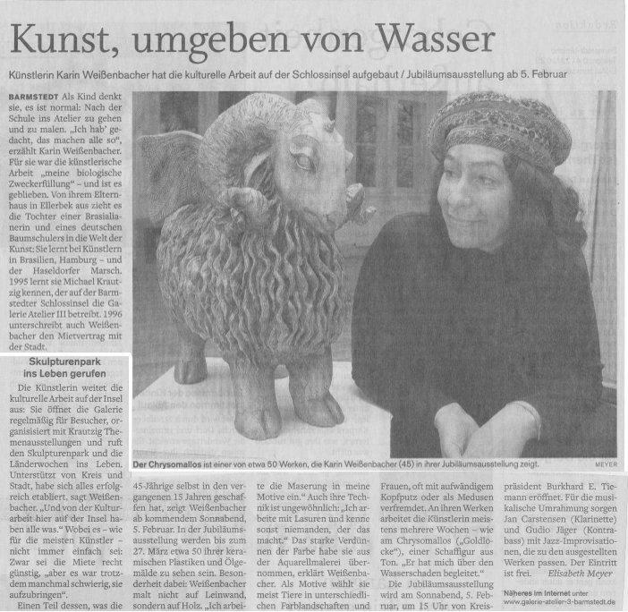 31.01.2011 Kunst, umgeben von Wasser Elisabeth Meyer, Barmstedter Zeitung Kunst, umgeben von Wasser