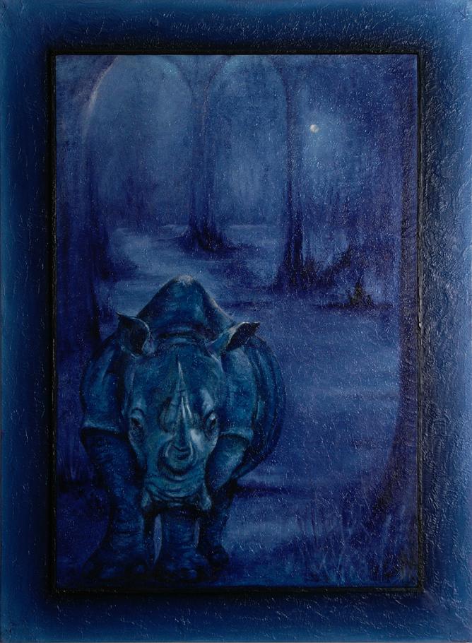 Rhinozeros im Indigo