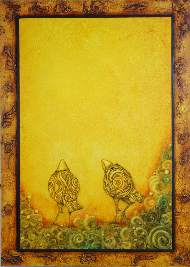 Zwei gelbe Vögel